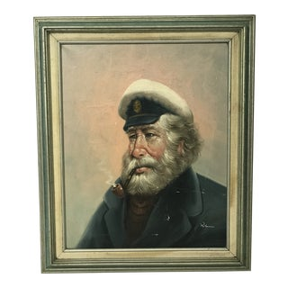 Vintage Skipper Captain Smoking a Pipe, Signed Oil Painting For Sale