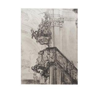 "1959 ""Church Interior"" by Adolph Von Menzel, Large Architectural Photogravure For Sale"