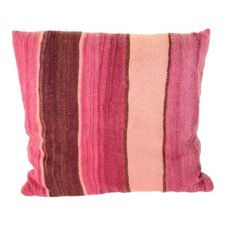Moroccan Lumbar Pillow Cut from a Vintage Tribal Stripes Rug For Sale