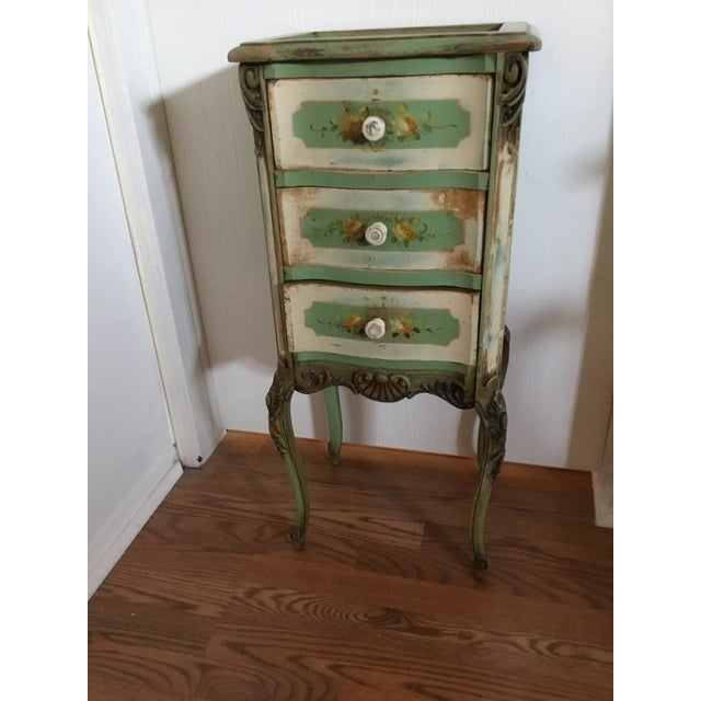 Wood 20th Century Shabby Chic Green Nightstand/Chest For Sale - Image 7 of 7