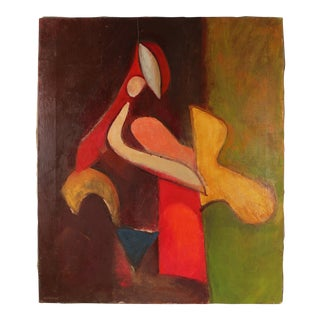 Abstracted Cubist Figure in Oil, Mid-Century