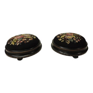 Pair of 19th Century Floral Tapestry English Round Foot Stools For Sale