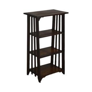 Mission Style Antique Oak 4 Tier Open Bookshelf, Bookcase For Sale