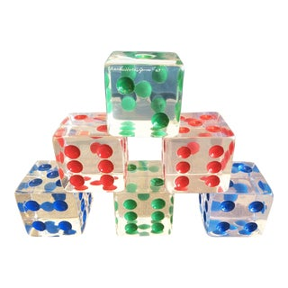 Oversized Dice Sculpture in Lucite by Charles Hollis Jones, Signed and Dated - Set of 6 For Sale