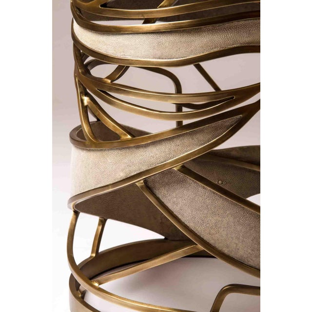 Metal Bronze-Patina Brass Side Table by Kifu, Paris For Sale - Image 7 of 10