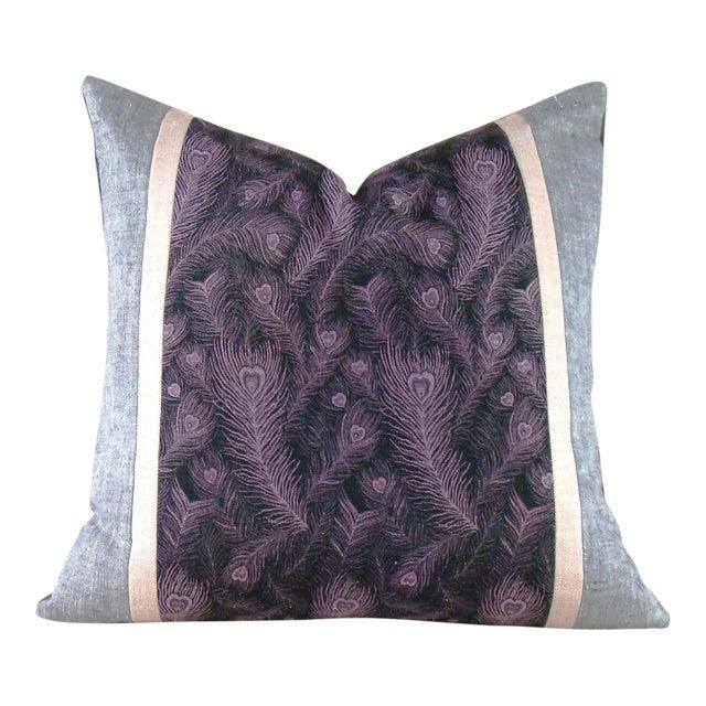 Vintage Japanese Peacock Feather Silk Kimono Pillow Cover For Sale