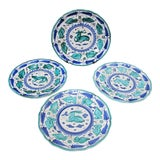 Image of Italian Majolica Assisi Blue Green Animal Flower Leaf Theme Plate Set of 4 For Sale