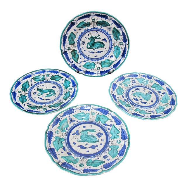 Italian Majolica Assisi Blue Green Animal Flower Leaf Theme Plate Set of 4 For Sale