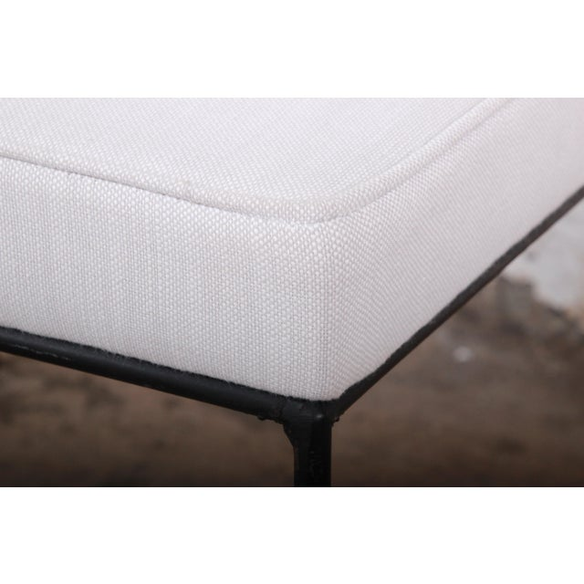 1950s Paul McCobb Mid-Century Modern Upholstered Iron Stool or Ottoman, Newly Restored For Sale - Image 5 of 7