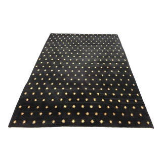 Knecht Black With Gold Stars Wool Area Rug - 6′3″ × 9′