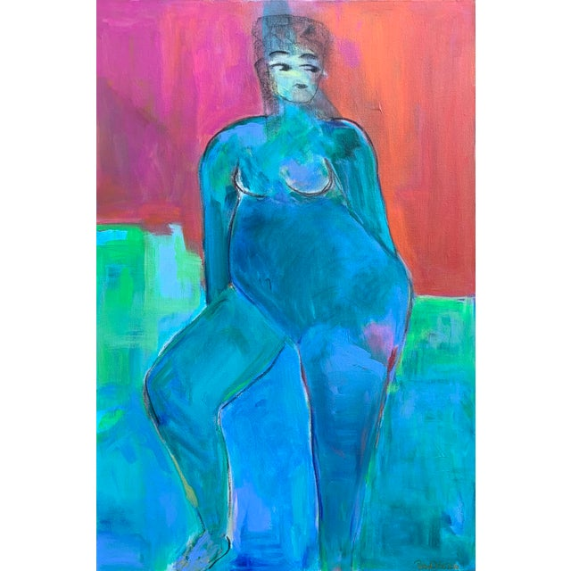 """Contemporary Figurative Painting by Robin Okun Art, """"Over Here"""" For Sale - Image 11 of 11"""