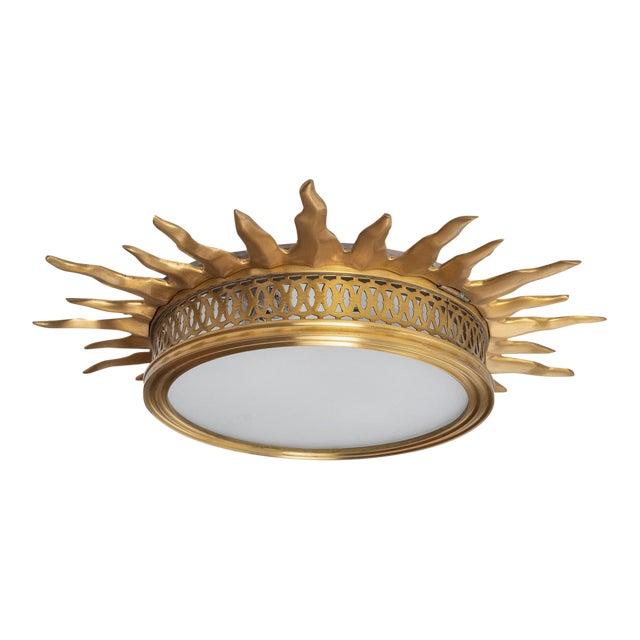 Sun Burst Gilded Bronze Ceiling Fixture For Sale