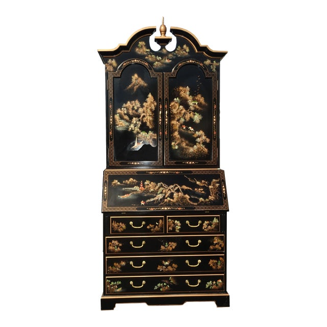 Vintage Chinese Asian Black Lacquer Chinoiserie Secretary Desk Hutch Hand Paint For Sale