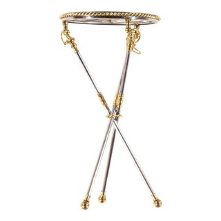 Pasargad N Y Polish Steel and Brass Tripod Table For Sale
