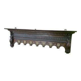 """Antique French Renaissance Wall Shelf Coat Hat Copper Pot Rack - 59"""" For Sale"""