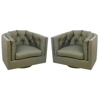 1960s Mid-Century Modern Tufted Barrel Back Swivel Chairs - a Pair For Sale