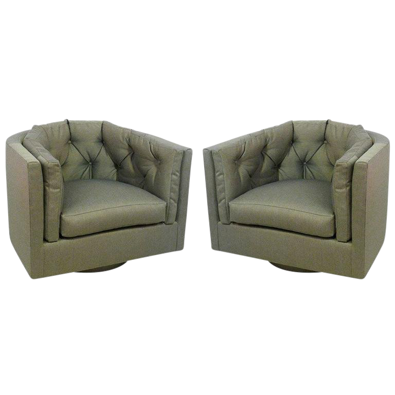 Genial 1960s Mid Century Modern Tufted Barrel Back Swivel Chairs   A Pair For Sale