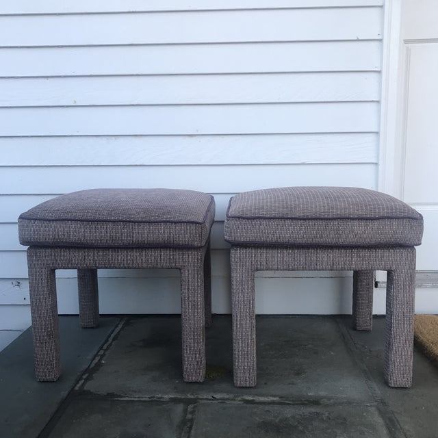 Purple Pair of 1970s Upholstered Parsons Stools For Sale - Image 8 of 8