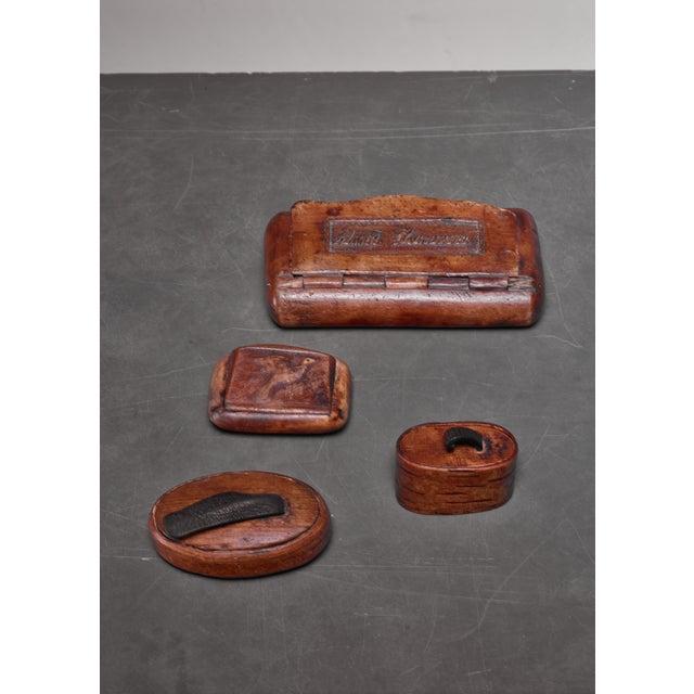 Folk Art Set of Four Small Wooden Folk Art Boxes, Sweden For Sale - Image 3 of 3