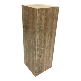 Faux Travertine Marble Sculpture Pedestal Stand
