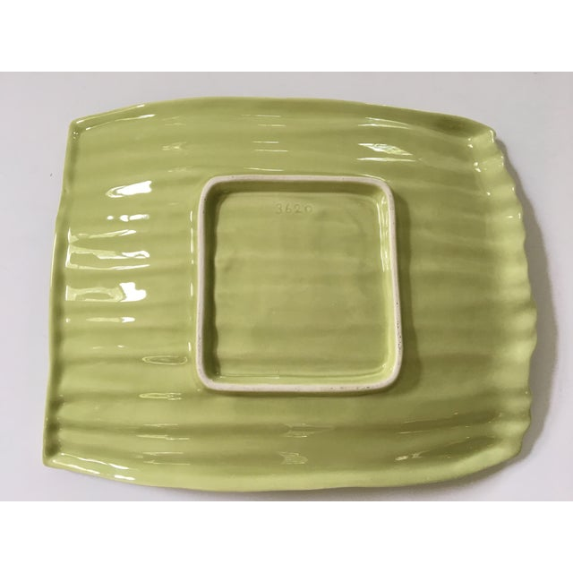 Large - Apple Green Ceramic Hand Painted Asparagus Platter For Sale - Image 6 of 9