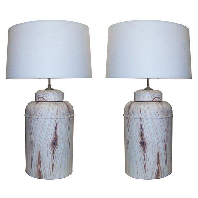 Pair of Tole Faux-Painted Canister Lamps For Sale - Image 4 of 4