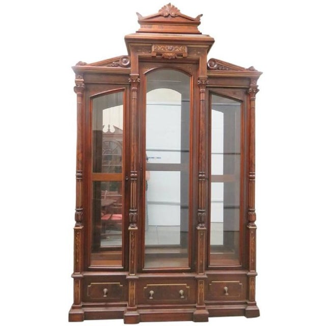 Magnificent Monumental Victorian Renaissance Style Bookcase Curio For Sale - Image 9 of 9