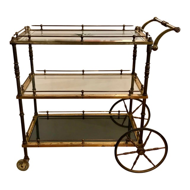 French Bar Cart With Starburst Cut Glass Top For Sale