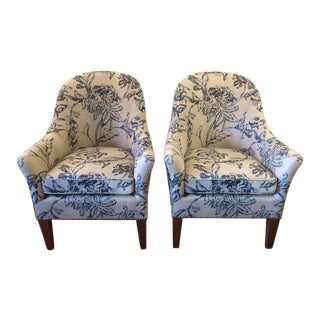 Blue & White Linen Club Chairs - A Pair