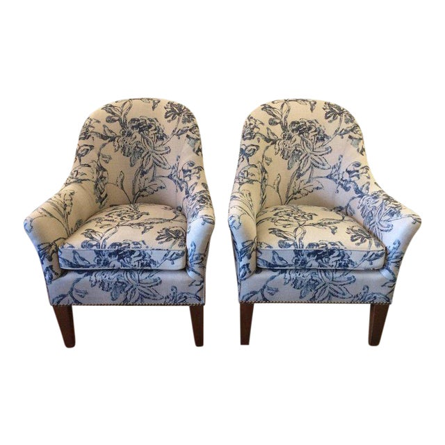 Blue & White Linen Club Chairs - A Pair - Image 1 of 7