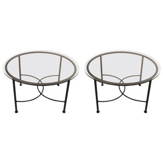 Pair of Round Glass Top Brown Jordan Tables For Sale