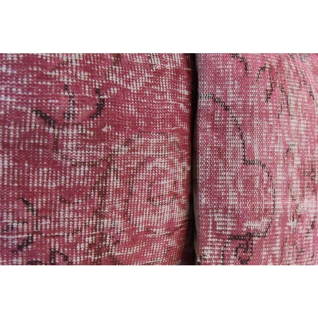 Pink Handmade Over-Dyed Rug Pillow Covers - A Pair - Image 6 of 6