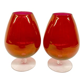 Cranberry Vintage Toasting Brandy Glasses - A Pair For Sale