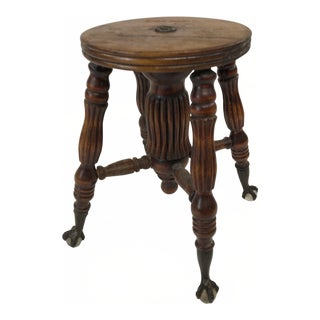 Vintage Victorian Piano Stool Base With No Top For Sale