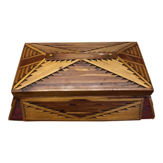 Hand Made Tramp Art Hinged Box With Mirror For Sale