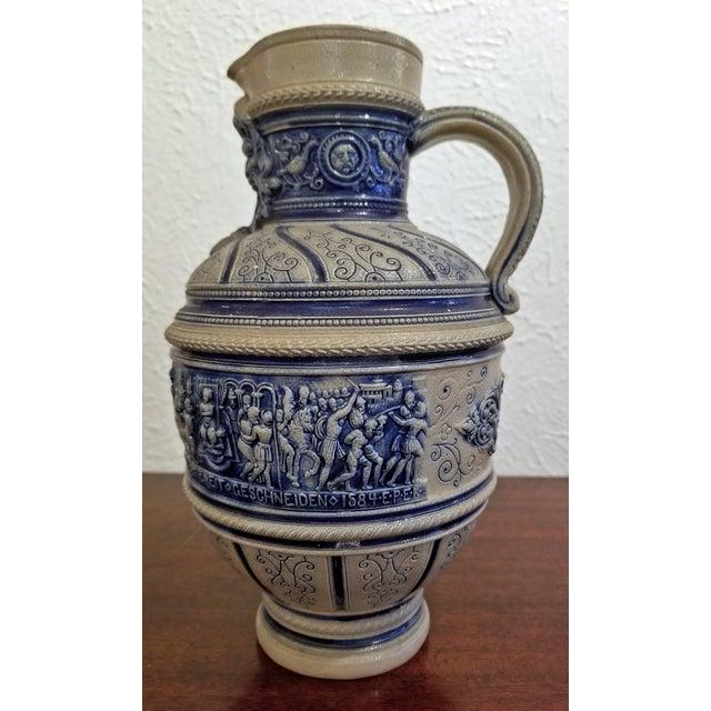 """1584 Flemish Salt Glazed Pottery Beer Ewer """"Story of Susanna"""" After Engel Kran For Sale - Image 10 of 13"""
