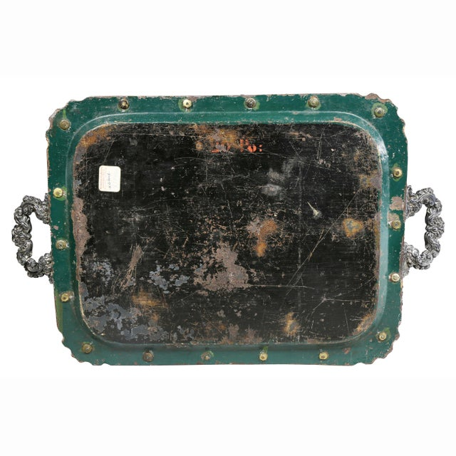 Green Victorian Papier Mache and Silver Plated Tray Table For Sale - Image 8 of 13