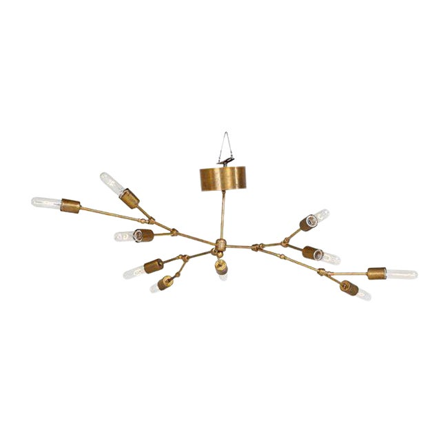 Ten-Light Reticulated Brass Ceiling Lamp For Sale