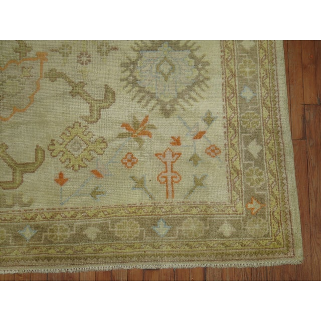 Square Antique Ivory Field Oushak Rug, 7'5'' X 9' For Sale In New York - Image 6 of 9