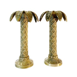 Maison Charles Style Coastal Solid Brass Palm Tree Candle Holders— a Pair For Sale