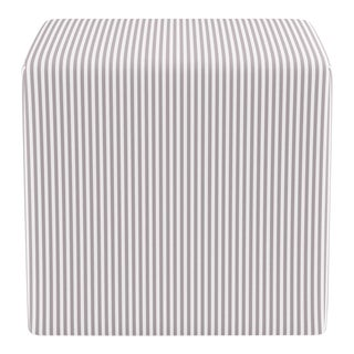 Cube Ottoman in Silver Ticking Stripe For Sale