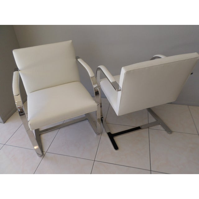 Brueton Brueton Stainless Steel and Leather Brno Chairs - Set of 6 For Sale - Image 4 of 10