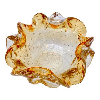 Murano Bullicante Control Bubble Amber Art Glass Ashtray Catchall For Sale
