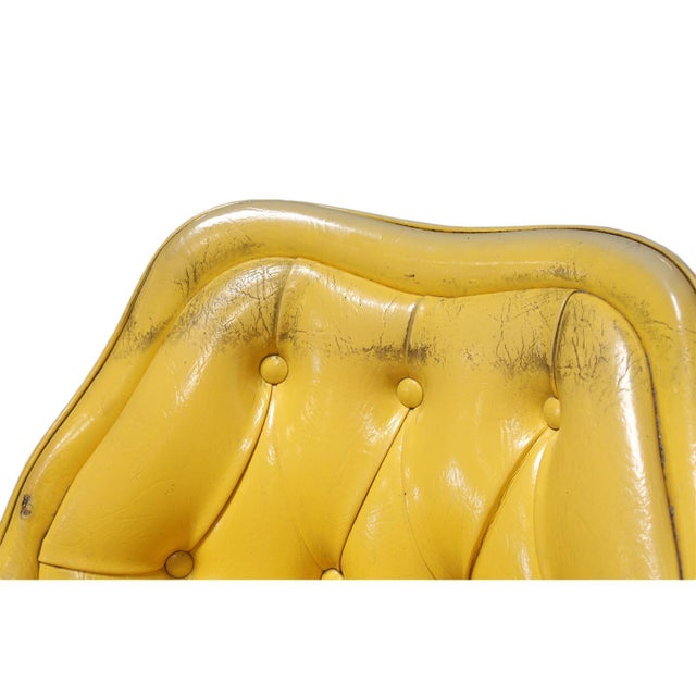 Lemon Yellow Vinyl Accent Chair - Image 6 of 10