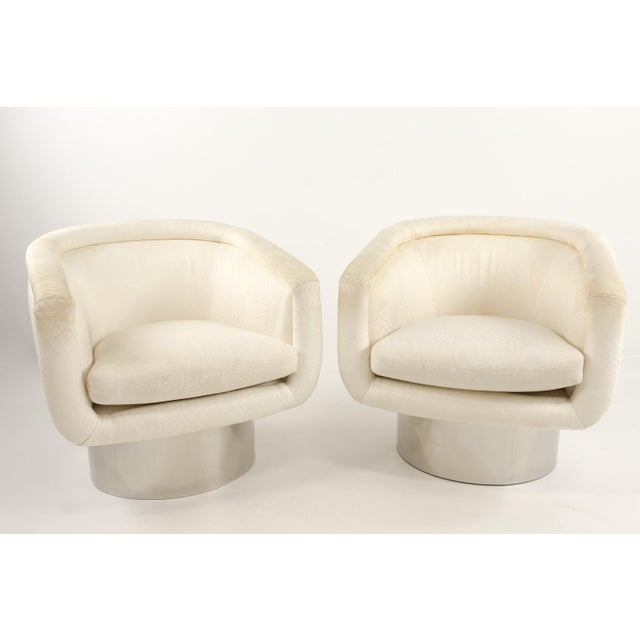 Chrome Mid Century Leon Rosen for Pace Swivel Barrel Lounge Chairs - a Pair For Sale - Image 7 of 7