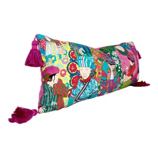 Manuel Canovas Voyage en Chine Lumbar Pillow With Hot Pink Tassels - 13x30 For Sale