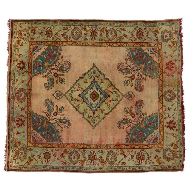 Antique Turkish Oushak Rug with Modern Style For Sale In Dallas - Image 6 of 7