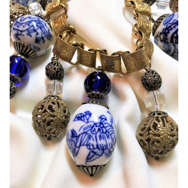 Chinese Blue and White Porcelain Bead and Brass Bookchain Necklace For Sale - Image 4 of 9