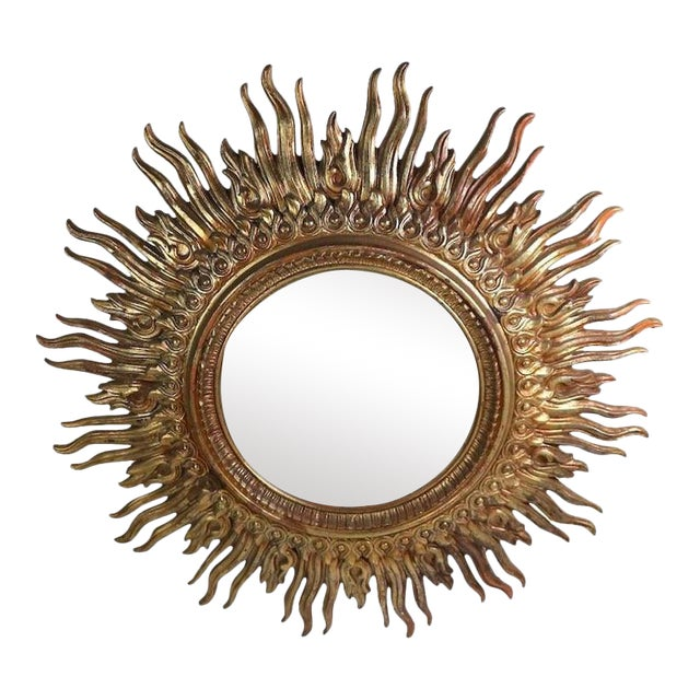 1970s Hollywood Regency Sunburst Wall Mirror For Sale