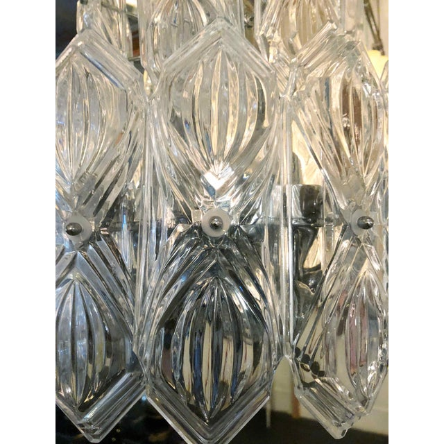 1960s Vintage Etched Glass Chandelier For Sale - Image 5 of 7
